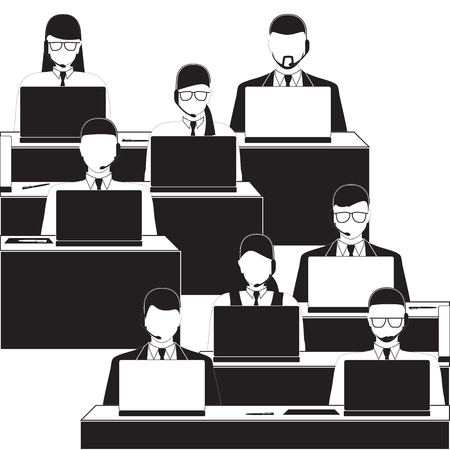 Men and women working in a call center. Black and white silhouettes. Call center. Support service.