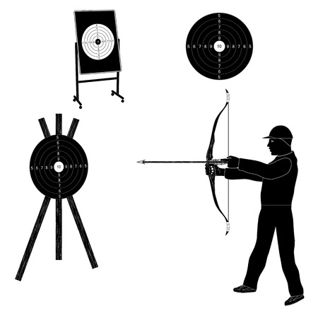 Shooter with bow and target. Black silhouette. Sports archery. Illustration
