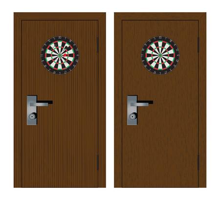 Dartboard on the door. Darts. 矢量图像