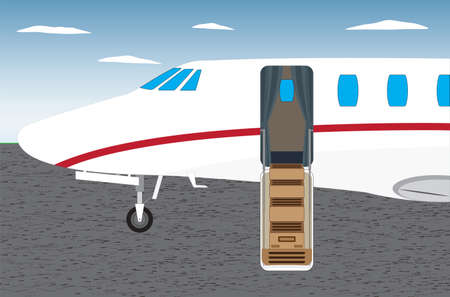 Airplane with open ladder-door. Side view.