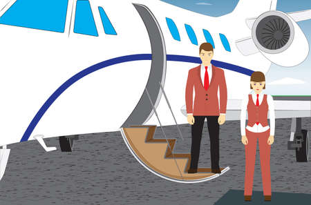 The pilot and the stewardess are standing near the plane. Vettoriali