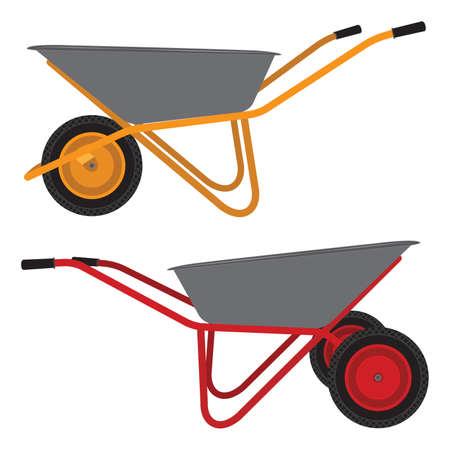 Wheelbarrow. Cart. Construction tool. Cleaning tool.