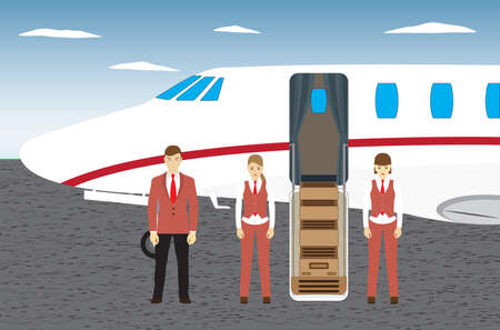 The pilot and the stewardesses are standing near the plane. Side view.