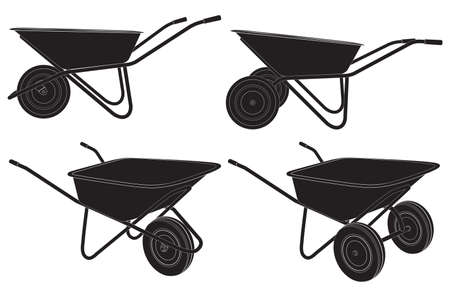 Wheelbarrow. Cart. Silhouette. Construction tool. Cleaning tool. Vettoriali
