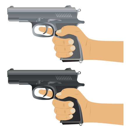 Gun. Pistol. Pistol in hand. Weapons ready for use. Vettoriali