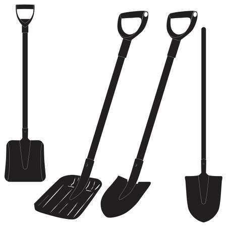 Shovel. Spade. Silhouette. Construction tool. Cleaning tool. Vettoriali