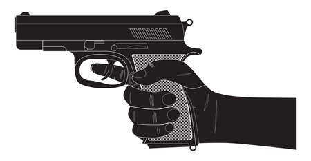 Gun. Pistol. Pistol in hand. Weapons ready for use. Silhouette.