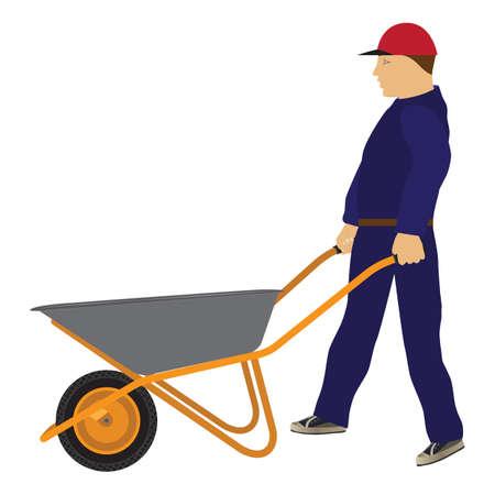 Working man with a wheelbarrow. Cart. Construction tool.