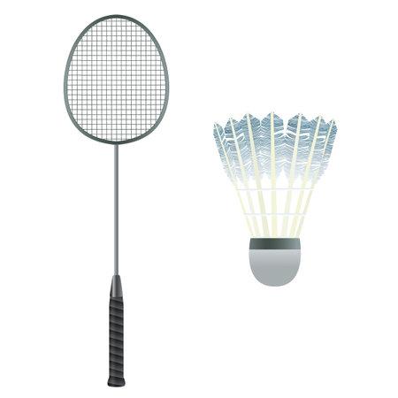 Badminton equipment. Badminton racket and shuttlecock. Badminton. Sport.