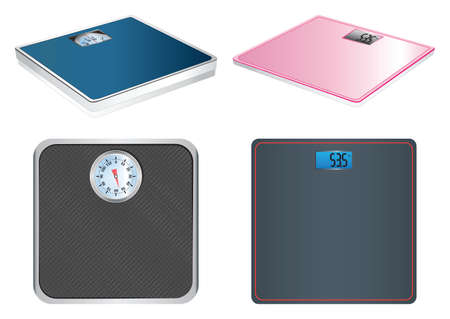Electronic and mechanical scales. Bathroom scales. Scales. Vettoriali