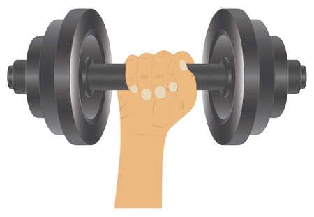 Dumbbell in hand. Fitness sport. Bodybuilding sport.
