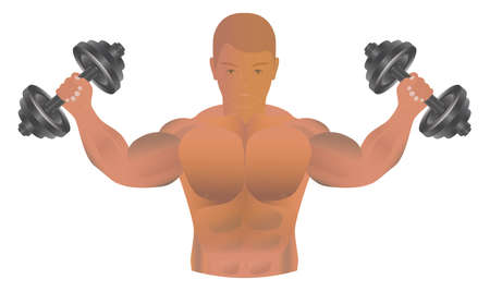 Athlete with dumbbells in his hands. Sportsman's body.