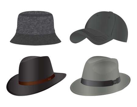 Various types of men's headwear. Hats, baseball cap, headdress.