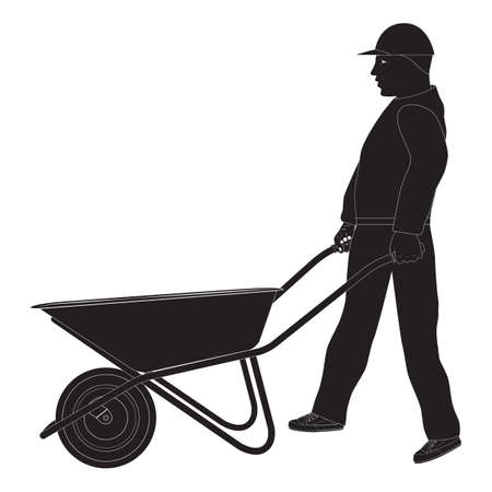 Working man with a wheelbarrow. Silhouette. Construction tool.