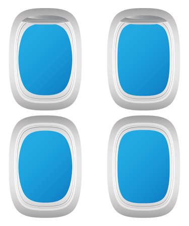 Aircraft window. Airplane porthole. Various types. With curtains and without.