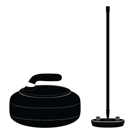 Curling equipment. Curling stone and broom. Silhouette. Curling. Sport.