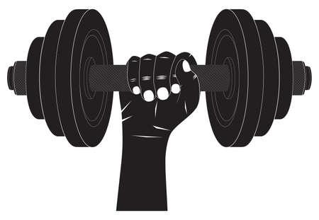 Dumbbell in hand. Silhouette. Fitness sport. Bodybuilding sport. Vettoriali
