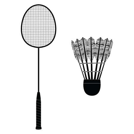 Badminton equipment. Silhouette. Badminton racket and shuttlecock. Badminton. Sport.