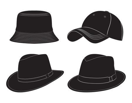 Various types of men's headwear. Silhouette. Hats, baseball cap, headdress. Vettoriali