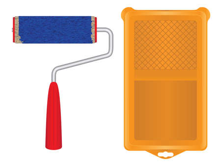 Paint roller for painting. Paint tray. Tool. Repair tool.