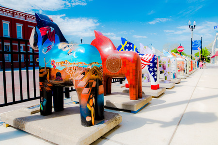 small town life: Colourful sculptures of horse