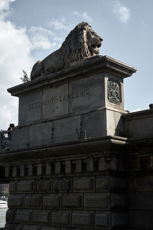 Lion sculpture on the set in Budapest Imagens