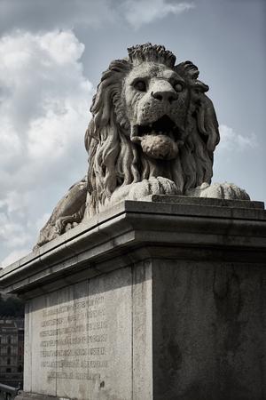 Lion sculpture on the set in Budapest Banco de Imagens