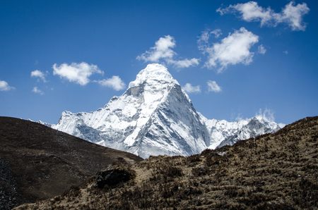 beautiful view of Ama Dablam from trek to Everest in Himalayas. different point of view