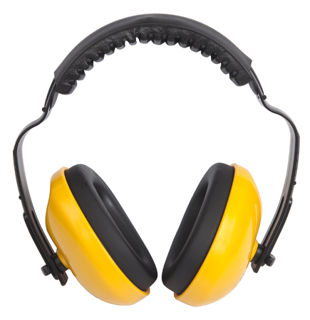 hearing protection: Hearing protection yellow ear muffs Stock Photo