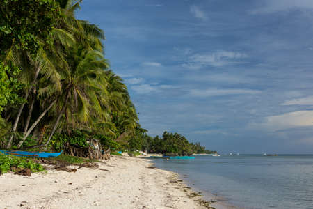 Beautiful palm tree lined white sand beach with calm clear sea and a build up of greying clouds.