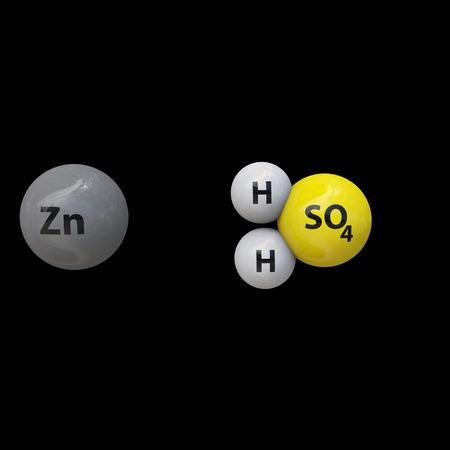 Zinc and sulfuric acid reaction Stock Photo