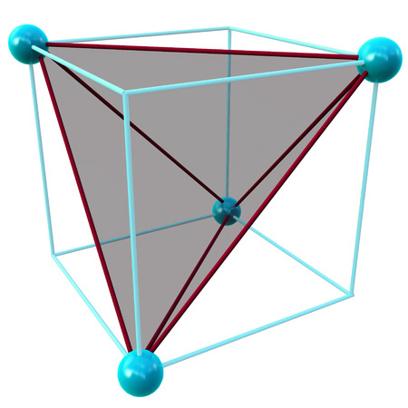 the void: One tetrahedral void showing the geometry