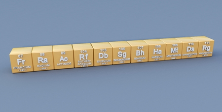lanthanide: Periodic table 7th period Stock Photo