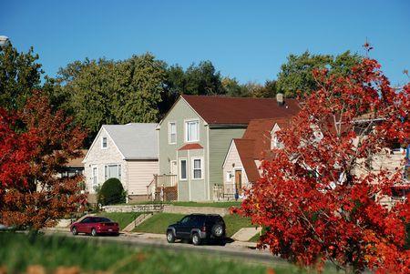 Autumn cityscape on bright sunny day