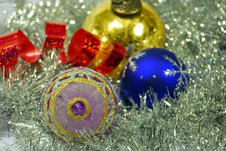 Bright colorful Christmas New year balls with ribbon