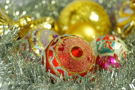 Pail of bright colorful Christmas New year balls