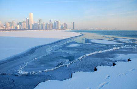 Chicago Skyline with frozen lake Michigan.Winter scene