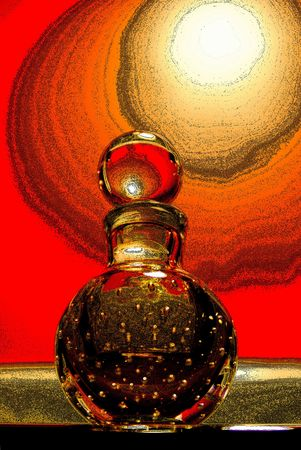Perfume bottle isolated on red.Tweaked in photoshop.