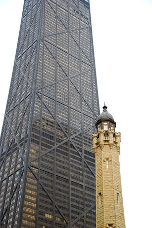 The Old Water Tower and John  Hancock center from below, Chicago Illinois