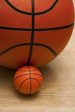 Junior basketball.Regular size and miniature basketballs