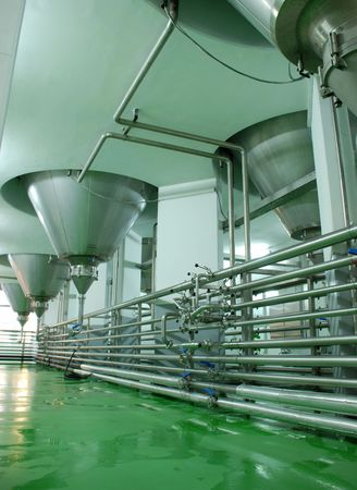 Modern Brewery in Veliko Tarnovo ,Bulgaria.Pipes and fermenting tank in the Facility for aging the Beer