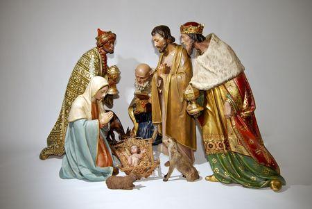 置物のキリスト降誕のクリスマスのシーン。分離されました。