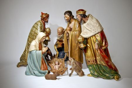 figurines: Figurine nativity Christmas scenes.Isolated Stock Photo