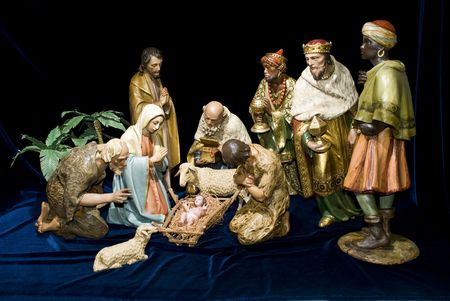 A complete Nativity scene including the holy family, wise men & animals photo