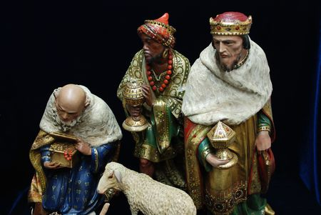 The three Kings from an antique collection of nativity figurines Stock Photo - 6093318