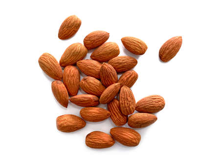 Almonds isolated on white background.Top view.