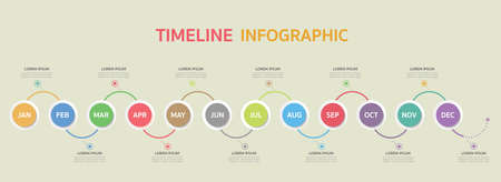 Timeline for 12 months, Infographic template for business.