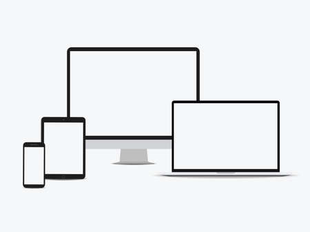 Device set monitor laptop, tablet and phone template