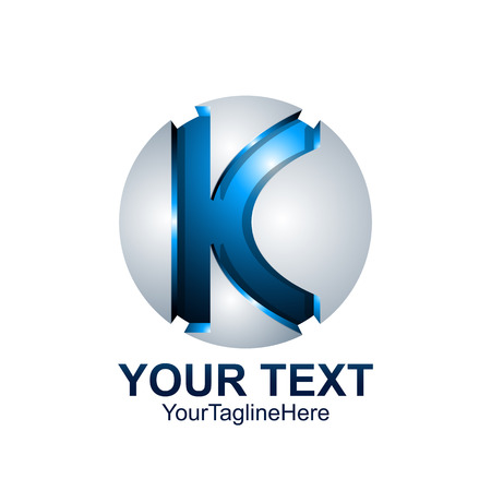 Initial letter K template colored blue grey circle sphere design for business and company identity Illusztráció