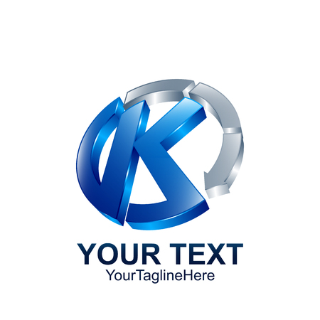 Initial letter K logo template colored blue grey circle arrow design for business and company identity